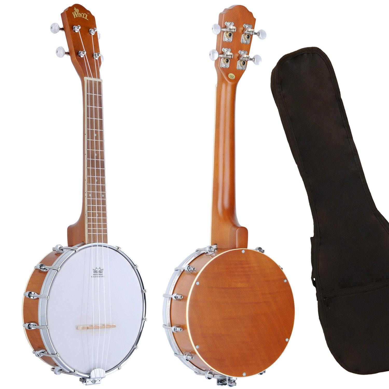 WINZZ Okoume 24 Inches Natural Gloss Banjo Ukulele Banjolele with Padding Bag