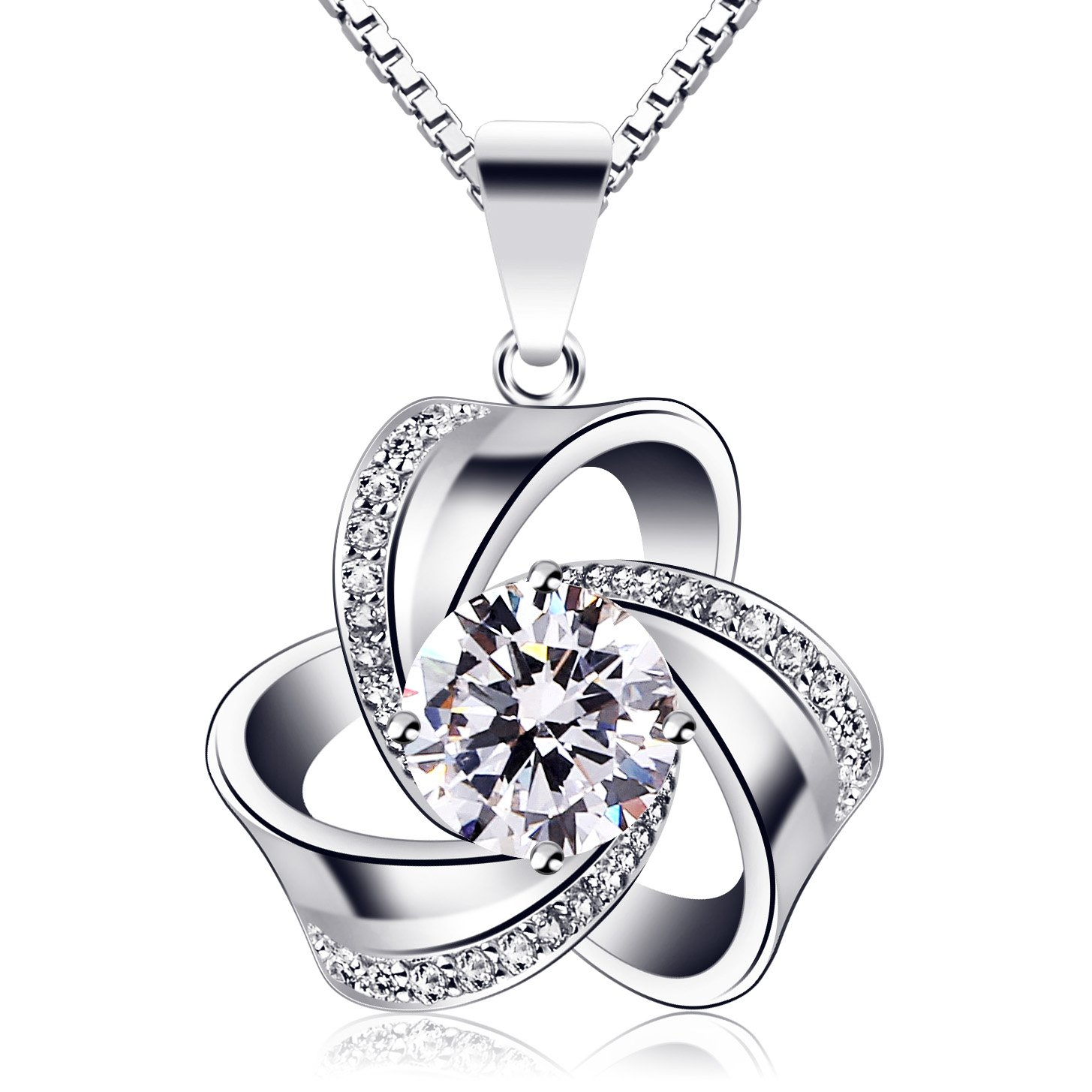 dbd5ec0b0 Amazon.com: B.Catcher Silver Necklace for Women Clover Pendant Necklace 925  Sterling Silver Cubic Zirconia with 45cm Chain: Jewelry