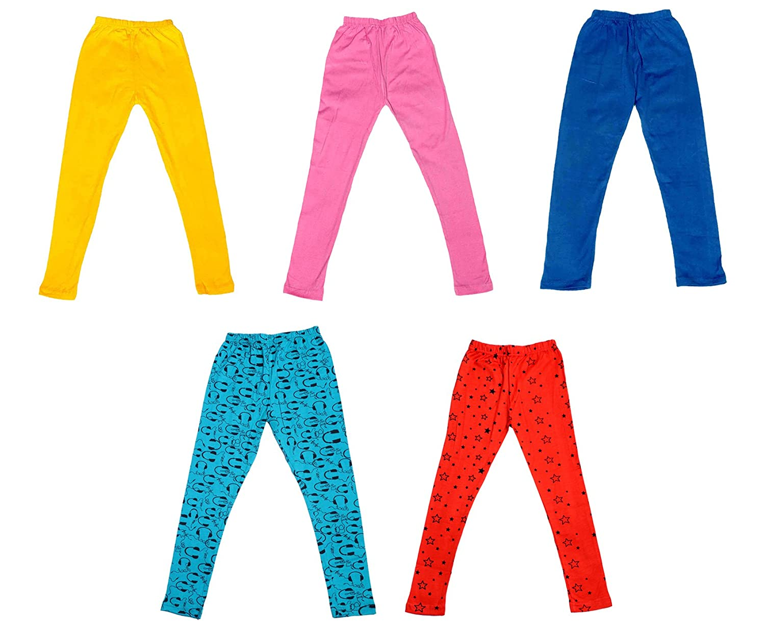 Pack of 5 Indistar Super Soft and Stylish 3 Solid and 2 Cotton Printed Leggings For Girls