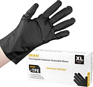 OKIAAS Black Disposable Gloves XL, 200 Counts/Box TPE Hybrid Plastic Gloves, Loose-Fitting, Latex Free For Food Handling, Household Cleaning, Hair Dying and More