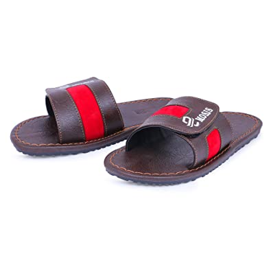 3cd5756146e4 Emosis Men s 379 Stylish Tan Brown Black Colour Casual Ethnic Formal Office  Slide Slipper Cum Sandal  Buy Online at Low Prices in India - Amazon.in