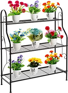 DOEWORKS 3 Tier Metal Plant Stand, Plant Display Rack,Stand Shelf, Pot Holder for Indoor Outdoor Use, Black