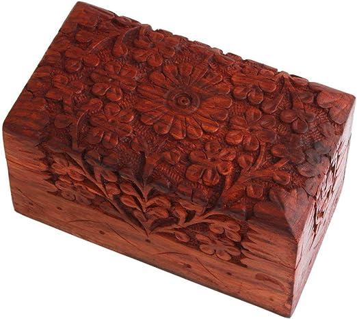Indus Lifespace - Caja de cartón de madera tallada a mano, 12 x 7 x ...
