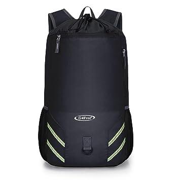 G4Free 32L Drawstring Foldable Backpack Lightweight Gym Sports Rucksack  Swimming Outdoor Travel Bag for Men Women d8fef1cbdb799
