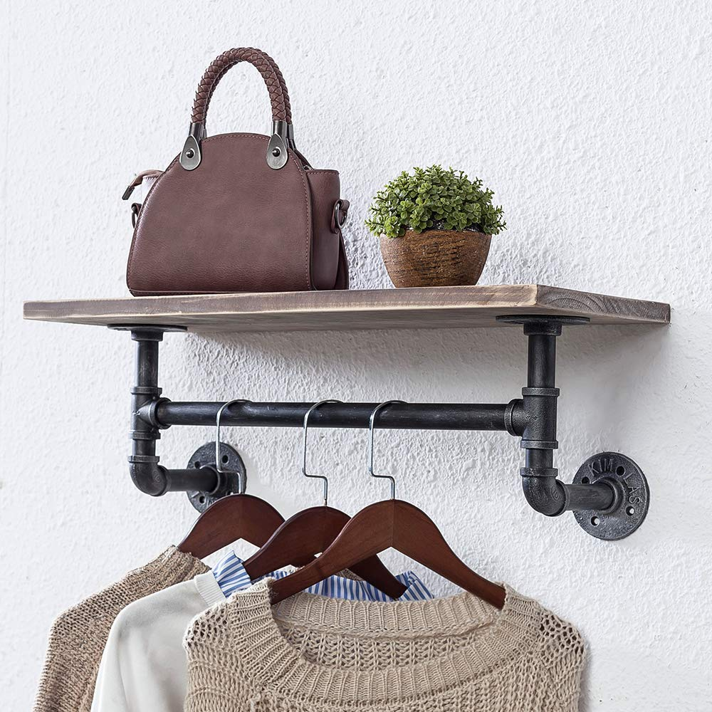 Bathroom Shelves Wall Mounted 1 Tiered,24in Industrial Pipe Shelving,Rustic Wood Shelf With Towel Bar,Black Farmhouse Towel Rack,Metal Floating Shelves Towel Holder,Iron Distressed Shelf Over Toilet Industrial Furniture