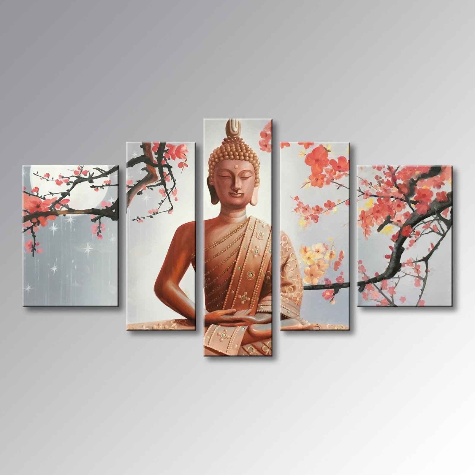 Winpeak Pure Handmade Framed Large Canvas Art Buddha Oil Paintings on Canvas 5 paenl Wall Decor For Living Room Stretched Ready to Hang (68''W x 40''H (16''x24'' x2, 12''x32'' x2, 12''x40'' x1))