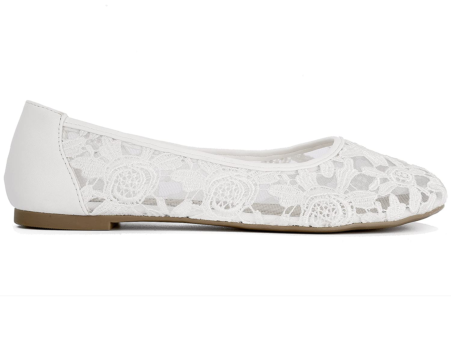 Greatonu Women Shoes Cut Out Slip On Synthetic Lace Ballet Flats B072BYYK14 10 US/41 EU|White