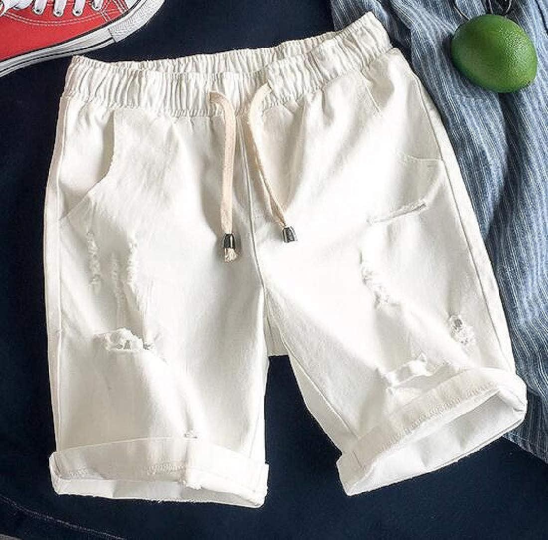 JuJuTa Mens Elastic Waist Denim Outdoor Ripped Jean Casual Shorts