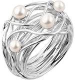 Nenalina–Anillo de perlas de plata de ley 925hecho a mano con auténticas perlas de agua dulce–721058–042