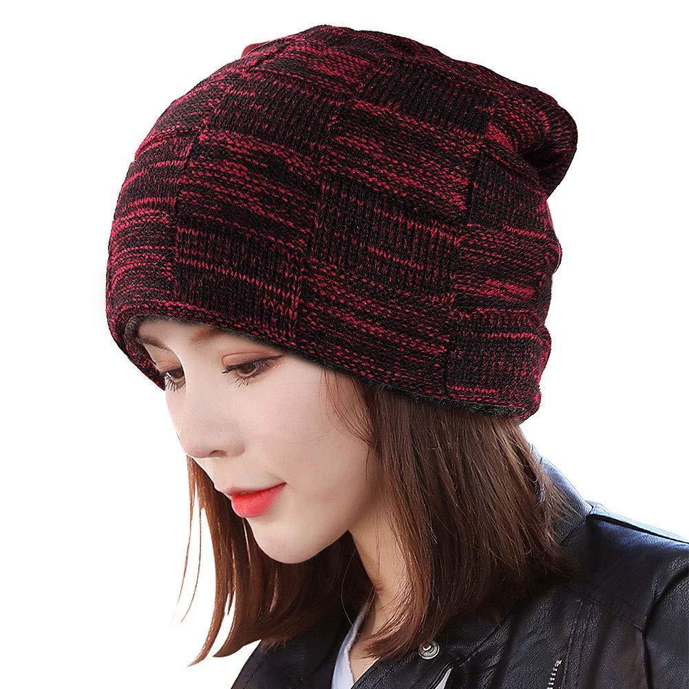 BOYOU Unisex Hombres//Mujeres Invierno C/álido Sombrero de Punto Al Aire Libre de Felpa Engrosamiento Gorro de Punto Sombrero de Esqu/í para el Invierno