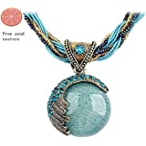 Usstore Women Lady Bohemian Jewelry Statement Necklaces Blue Rhinestone Gem Pendant Collar