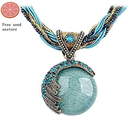Amazon usstore women lady bohemian jewelry statement necklaces usstore women lady bohemian jewelry statement necklaces blue rhinestone gem pendant collar aloadofball Gallery