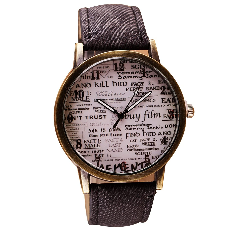 レトロ新聞パターン腕時計ユニセックスクォーツ腕時計(ブラック)  B0739XTWB5