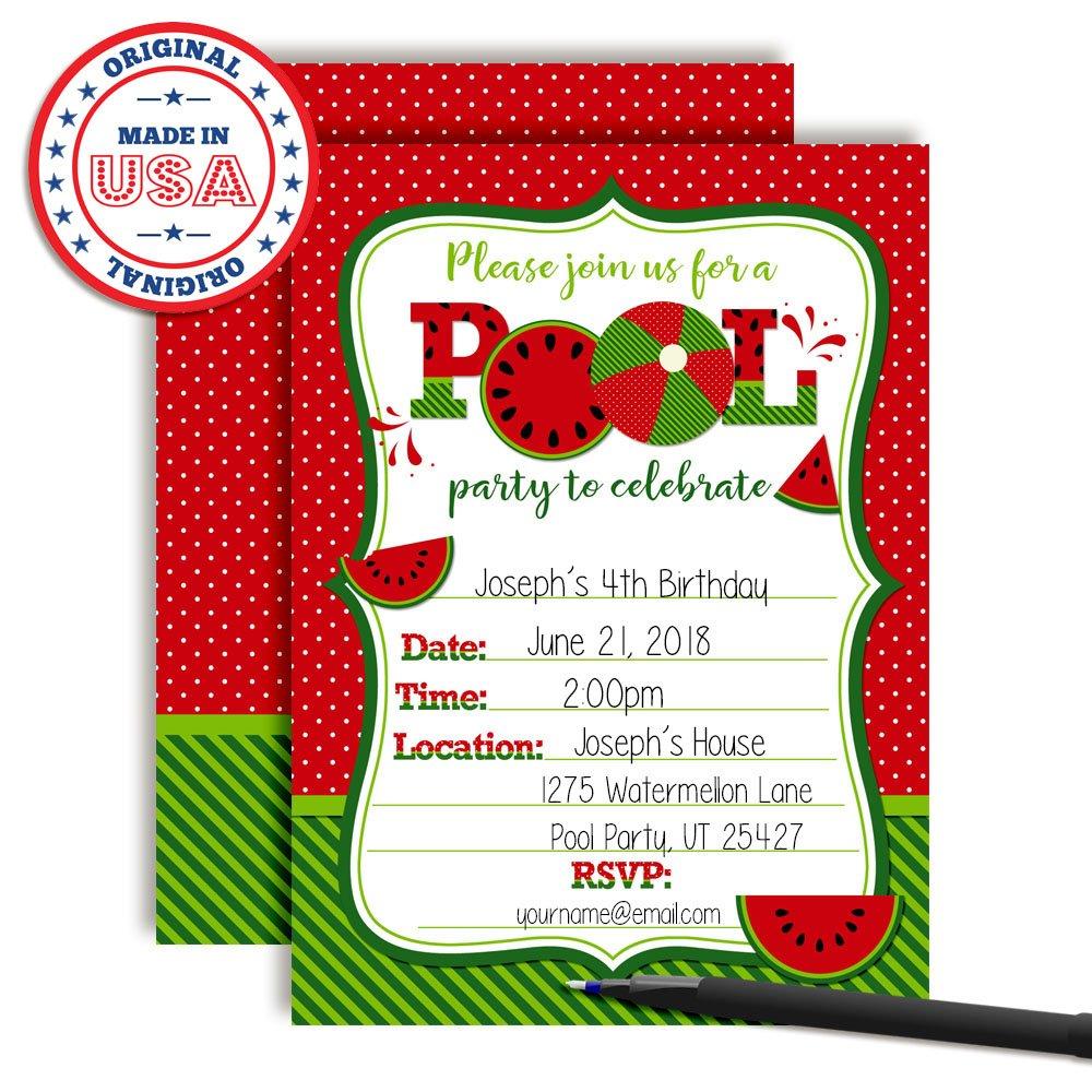 Amazon.com: Watermelon Birthday Pool Party Invitations in Red, Ten 5 ...