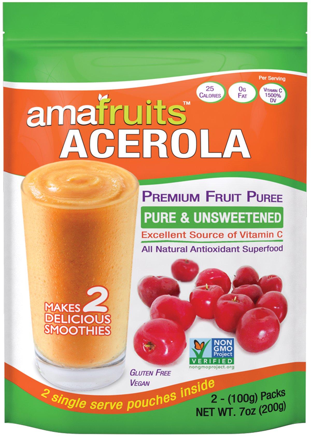 Amafruits 10 Bag Bundle of Acerola Fruit Puree