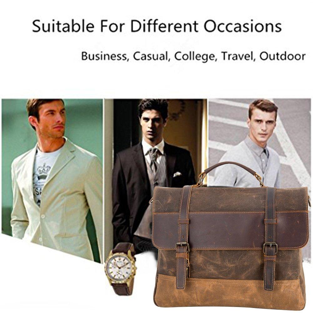 Kopack Waterproof Laptop Briefcase 15.6 inch Waxed Canvas Genuine Leather Laptop Bag Coffee by kopack (Image #7)