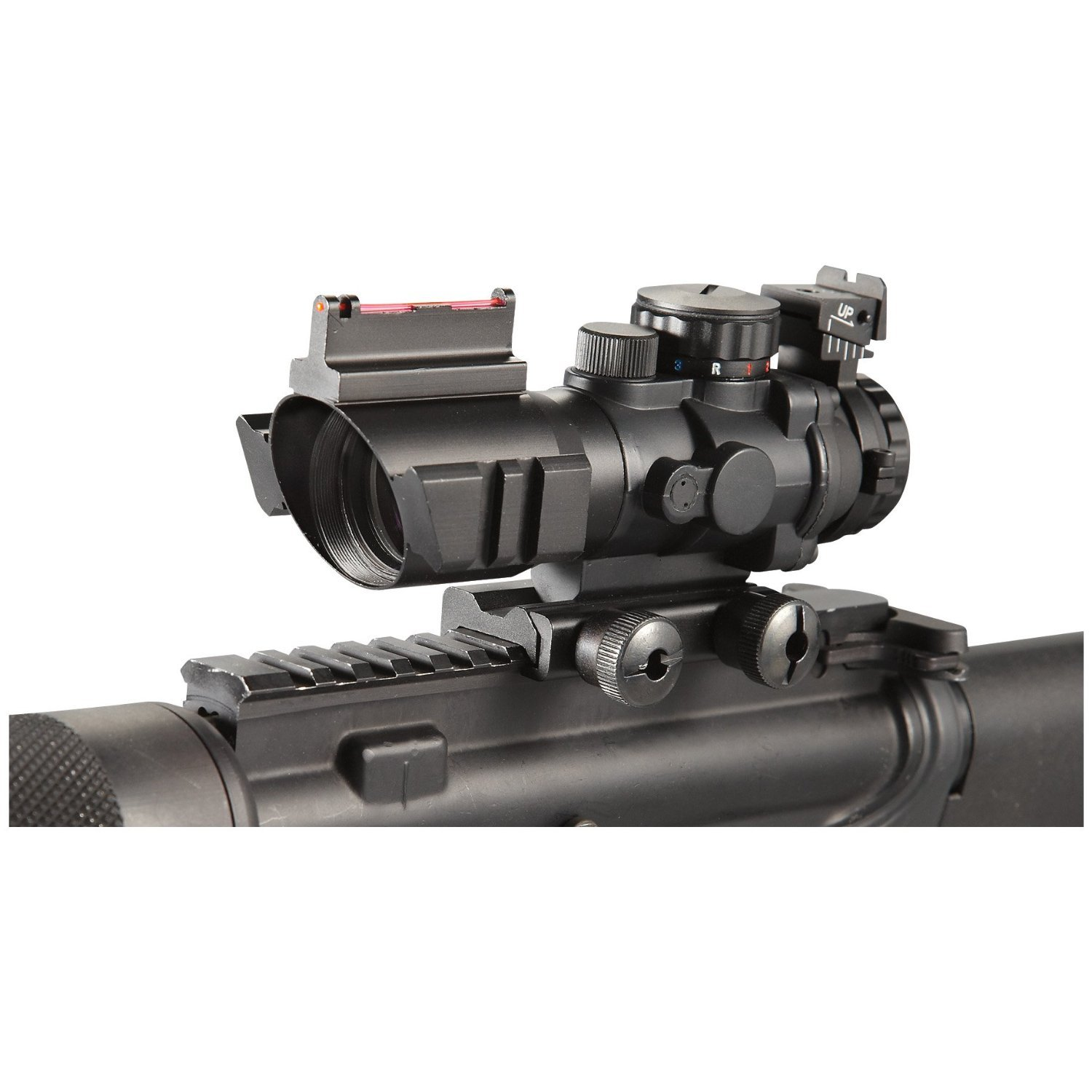 Ade Advanced Optics 4×32 Fixed Power Green blue red Illuminated Reticle Compact Rifle Scope with Fiber Optic Tactical Sight and Weaver Slots