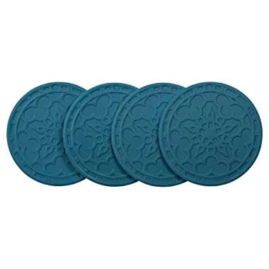 Le Creuset Silicone Set of 4 French Coasters, Marine