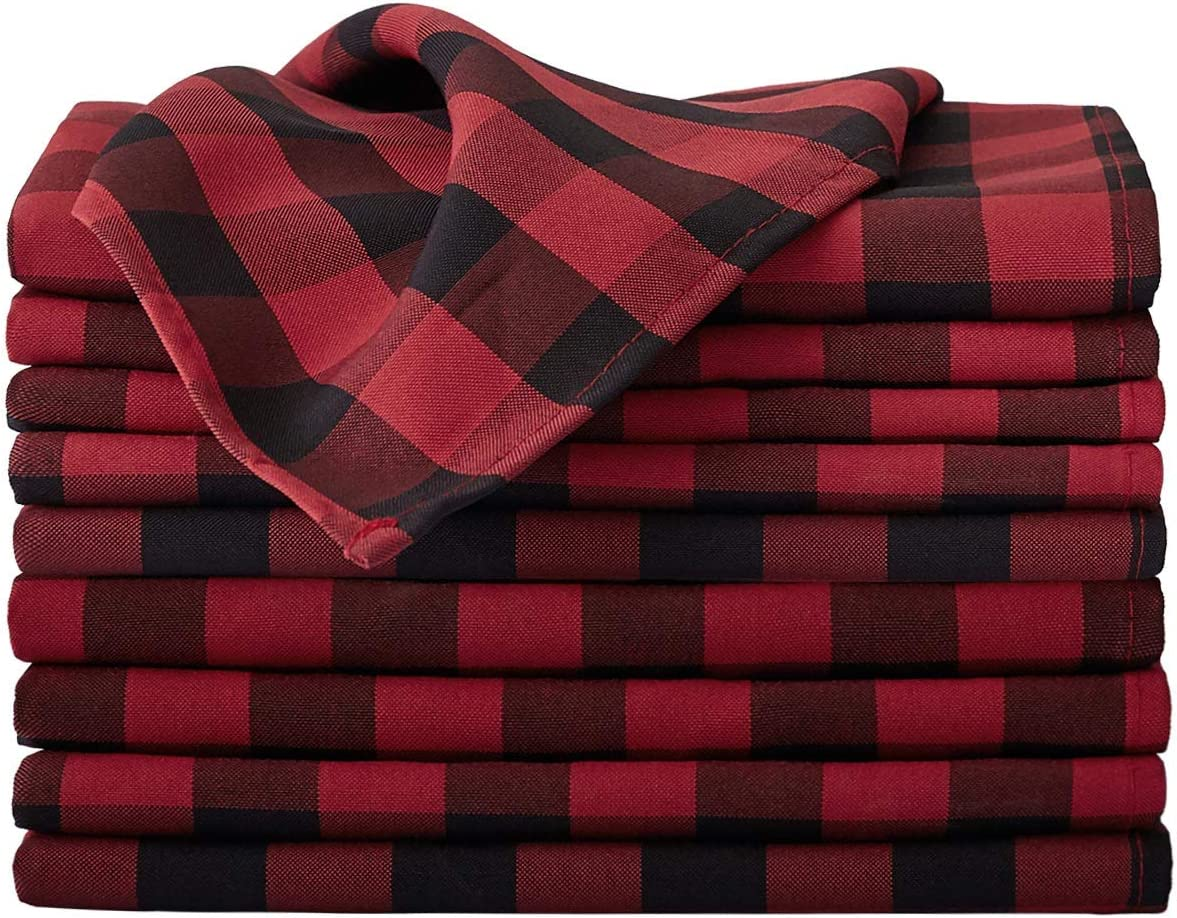 VEEYOO Polyester Checkered Cloth Napkins Set of 12 Pieces Buffalo Plaid Napkins Hemmed Edges Washable Gingham Oversized Dinner Napkins Stain Resistant Table Napkins (17x17 inch, Black & Red Napkins): Kitchen & Dining
