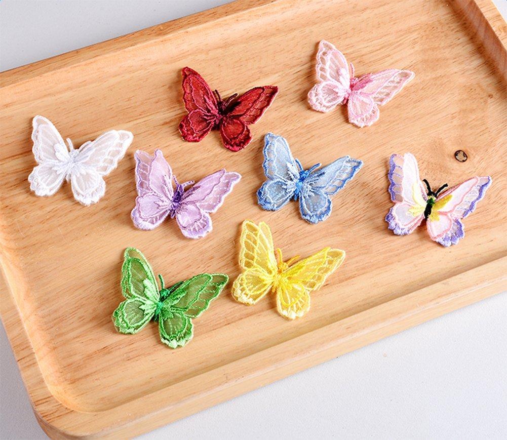 Lovemay 1 St/ück DIY Kleidung Sticker Schmetterling Bestickte Patches Sticker B/ügelflicken N/ähen Sticker f/ür T-Shirt Jeans Kleid Hut Schuhe Gelb