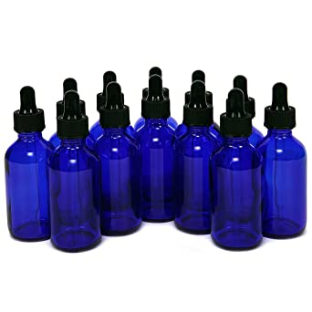 Magic Show 12 piezas 1oz (30ml) azul cobalto de cristal redondo con botellas de