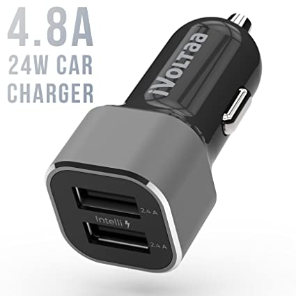 a6cf91a1580 iVoltaa 4.8 A - 24W Dual Port Metal Car Charger with: Amazon.in: Electronics