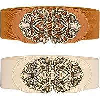 Cinturón ancho elástico para mujer 2 piezas retro de las señoras de cintura elástica cinturón