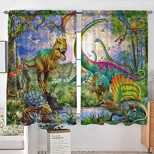 Sevendec Cartoon Dinosaur Curtains for Kids Room Jurassic World Animals Pattern Window Curtain Panels Decor for Bedroom Rod Pocket 2 Panels W52 x L84