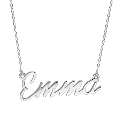 Sterling Silver Emma Name Necklace on 14 Inch Chain 5u52pX1