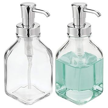 mDesign Juego de 2 dispensadores de jabón rellenables – Dosificadores de jabón cuadrados de cristal y