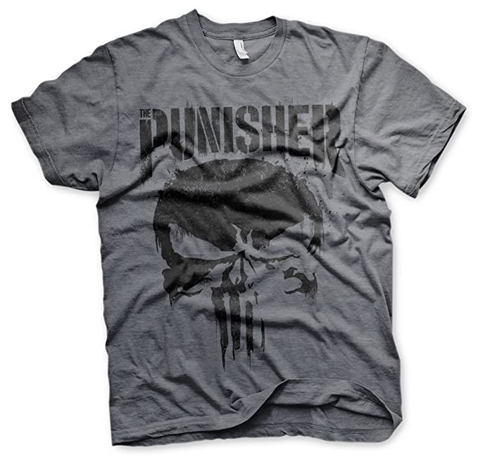Marvel Oficialmente Licenciado Punisher Big Skull Camiseta Para Hombre (Heather Oscuro) PY2HHt84