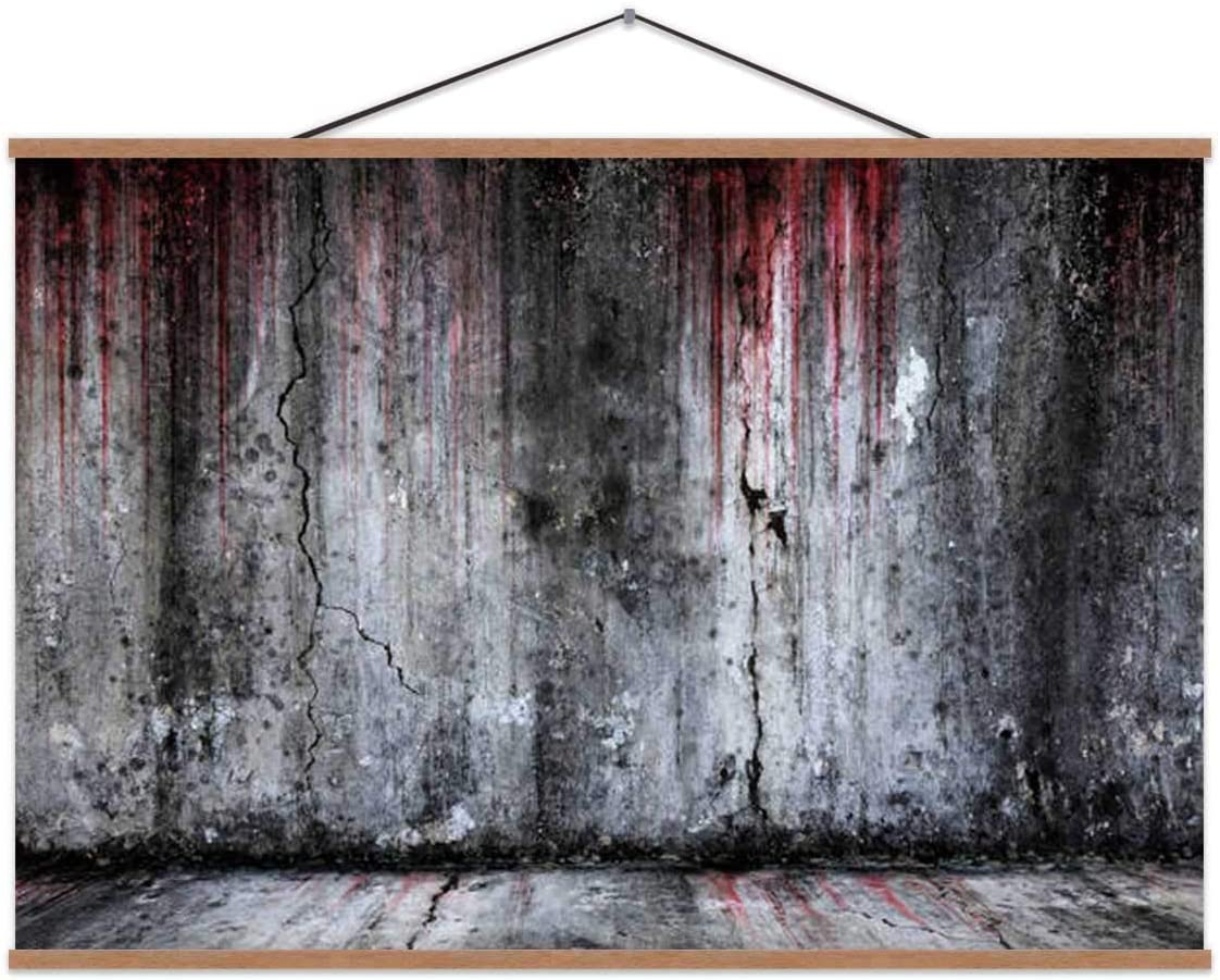 TinYida Bloody Scary Old Cement Wall and Floor Thailand,Decor Posters Spooky for Bedroom 16X12In