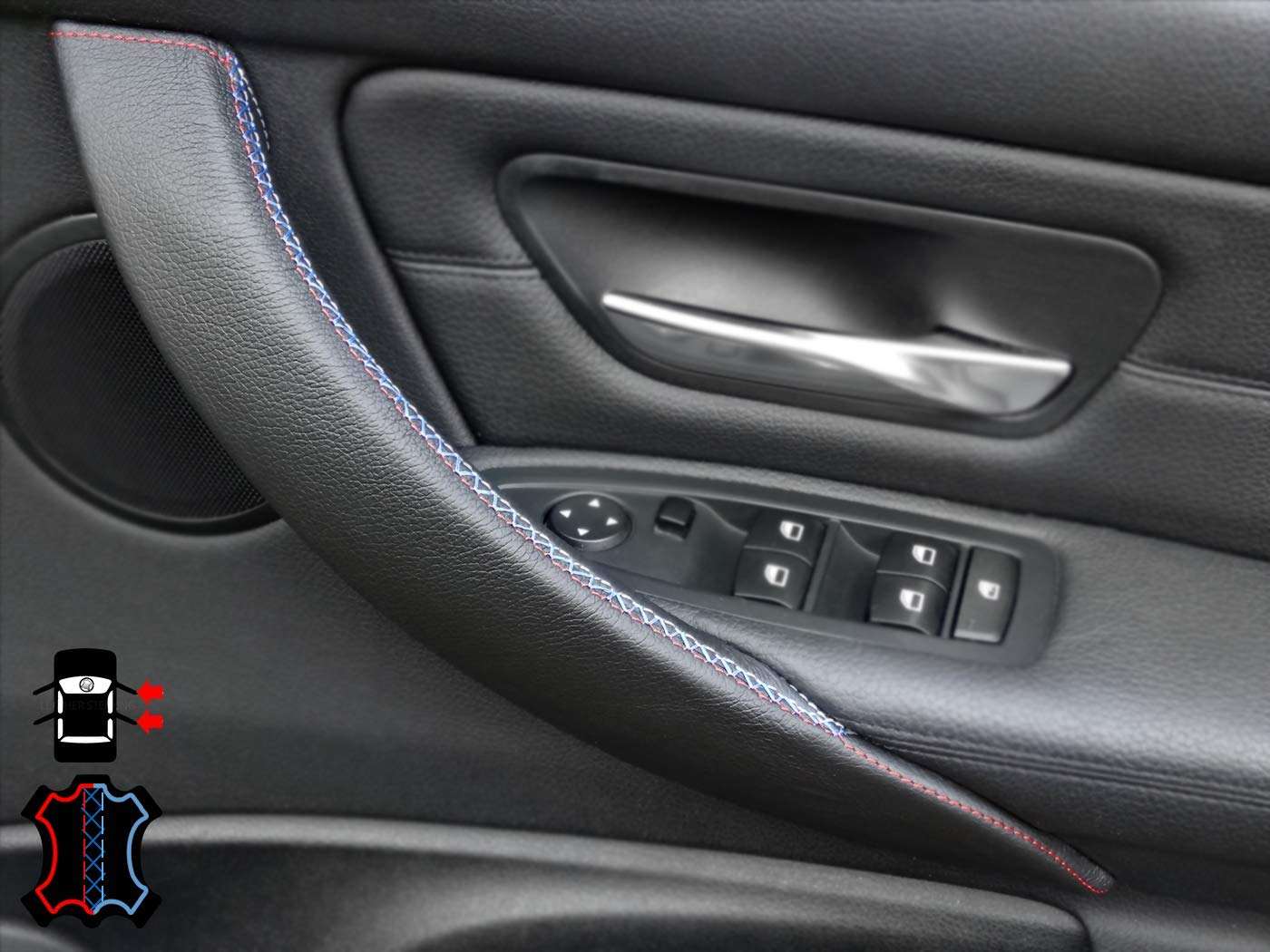 Left, Black, M Sport Door Handle Cover for 3 Series F30// F31// F34 /& 4 Series F32// F33// F36