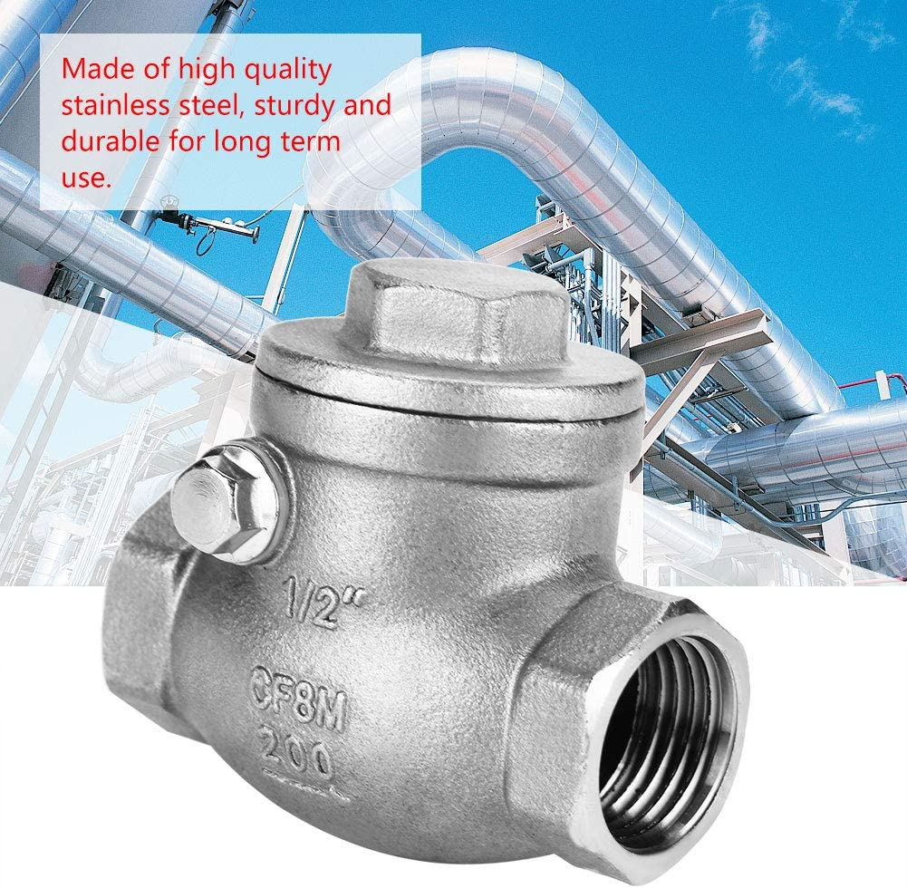 1//2 DN15 Check Valve Stainless Steel One Way Swing Check Valve Backflow Prevention Female Thread WOG 200PSI