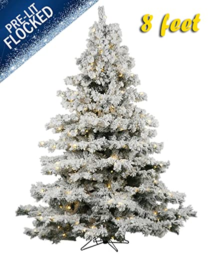 online store 1ab8e 7c312 AMERIQUE 691322310542 8 FEET Eight-Function Pre-Lit Premium Magnificent  Artificial Full Body Heavily Flocked Snowy Christmas Tree with Metal Stand,  ...