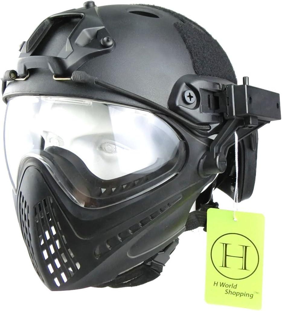H World EU Integrated Tactical Airsoft Paintball Gafas de Cara Completa Piloteer Casco Protector con Careta extraíble