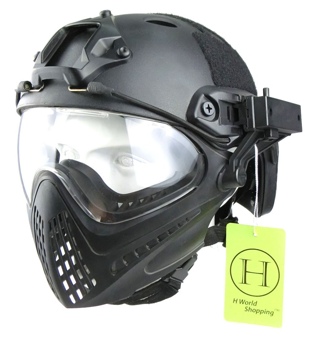 H World European Integrated Tactical Airsoft Paintball Gafas de protección completa Piloteer casco protector con protector facial extraíble (Negro, L/XL) H World Shopping