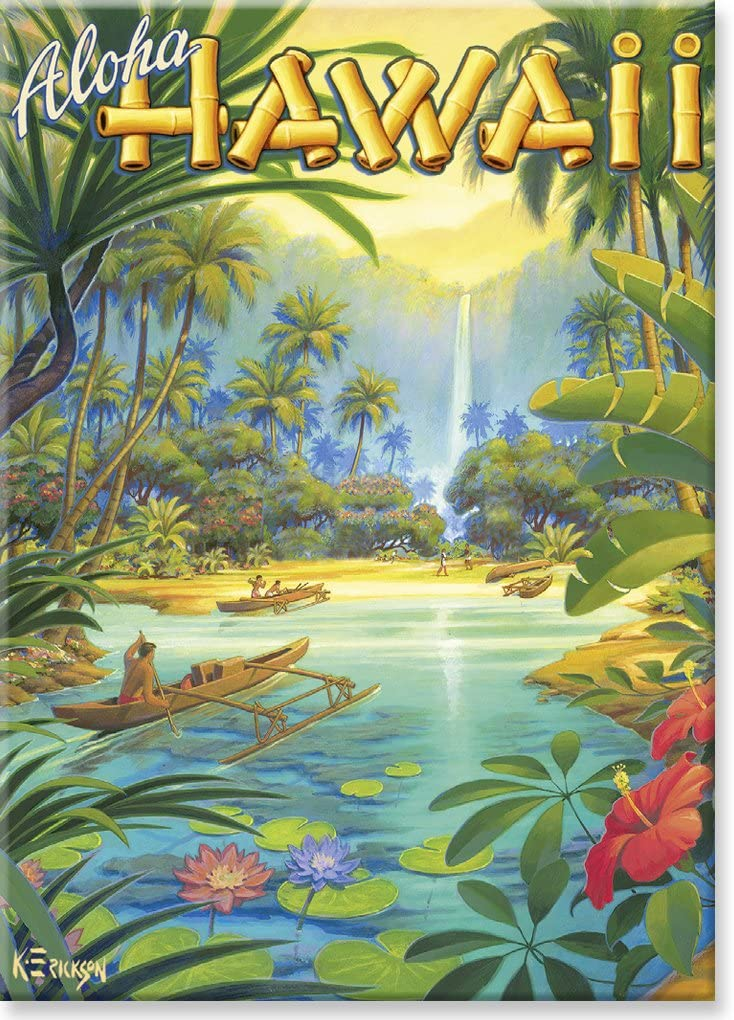 Hawaiian Art Collectible Refrigerator Magnet - Aloha from Hawaii by Kerne Erickson