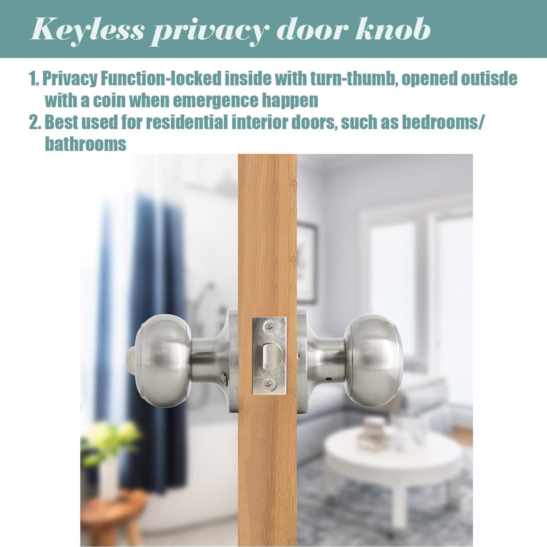 ba/ño 607 para puerta de seguridad Pomos de puerta de acero s/ólido con bola de n/íquel satinado dormitorio para trastero