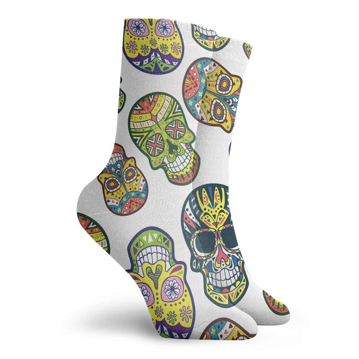 Adult Sugar Skull Pattern Cushion Crew Socks