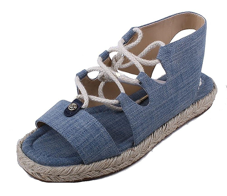 Michael Kors Womens McKenna Cotton Round Toe Casual Espadrille Sandals Washed Denim 6.0