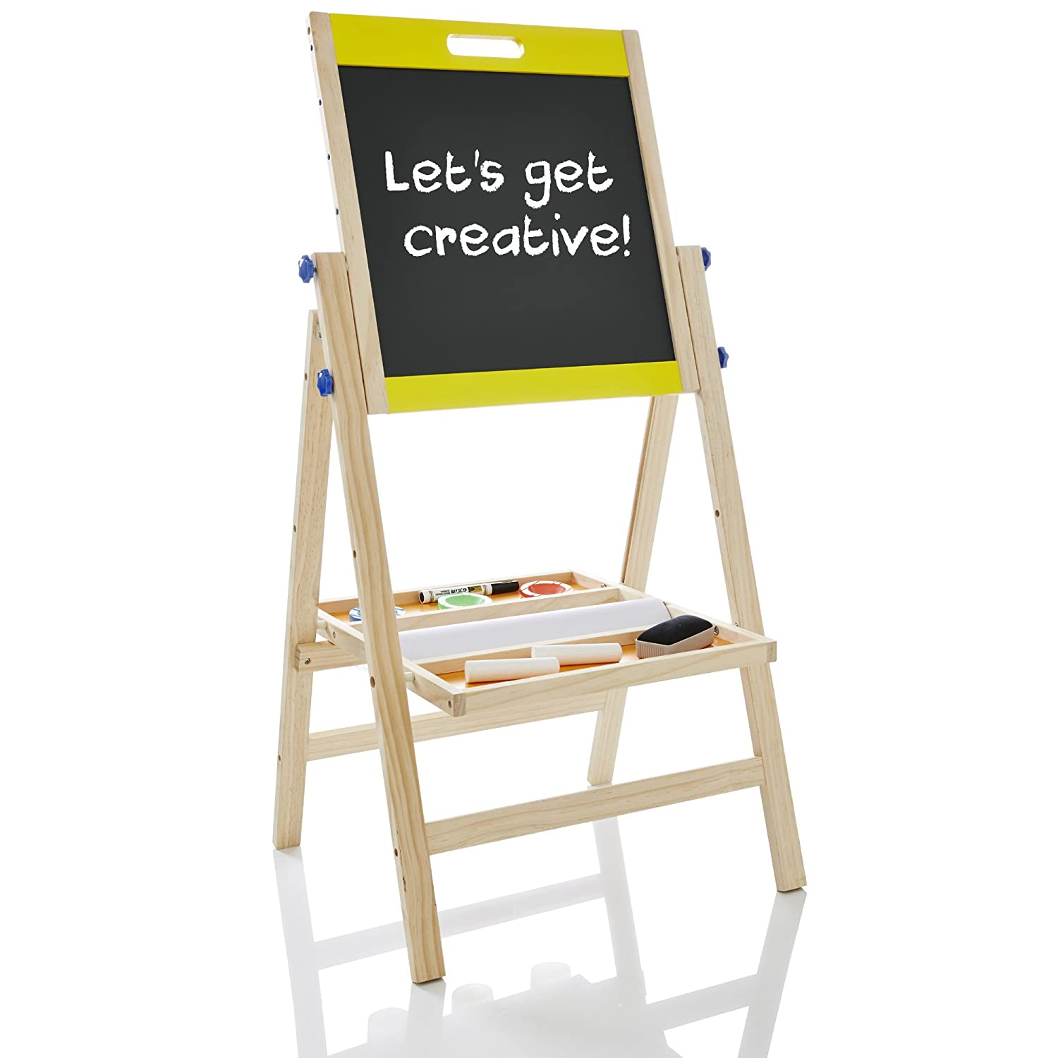 kiddyplay deluxe 3 in 1 wooden art easel amazon co uk toys games