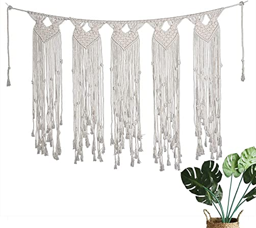 Macrame Wall Hanging Boho Home Decor Bohemian Tapestry Curtain Woven Decoration for Bedroom Living Room Wedding Beige1