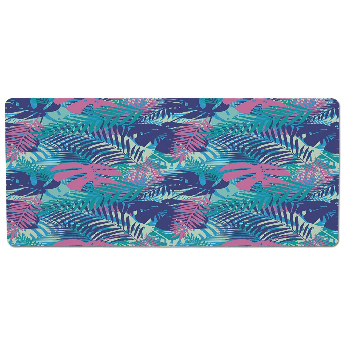 35.4\ iPrint Pet Mat for Food and Water,Leaf,Digital Neon Vivid colord Island Oceanic Flowers and Leaves,Pink Turquoise Dark bluee and Purple,Rectangle Non-Slip Rubber Mat for Dogs and Cats