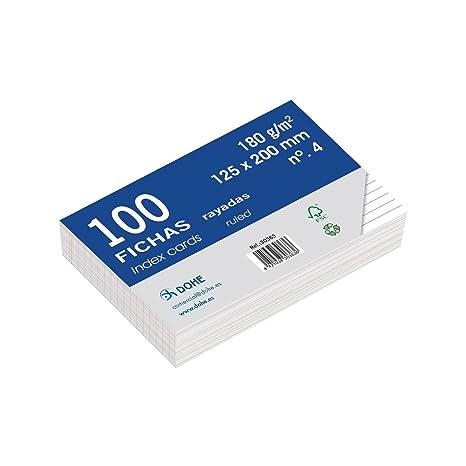 Dohe 30363 - Pack de 100 fichas rayadas de cartulina blanca, 180 g, nº
