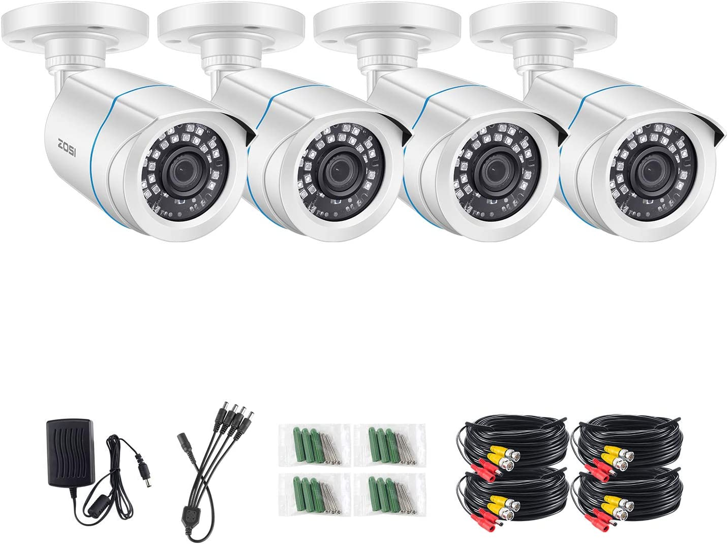 ZOSI 4 Pack FHD 1080p 2MP Security Bullet Cameras (Hybrid 4-in-1 HD-CVI/TVI/AHD/960H Analog CVBS),1920TVL Day Night WeatherproofCCTV Camera Indoor/Outdoor, Night Vision Up to 80FT
