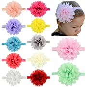 Baby Headbands Turban Knotted, Girl's Hairbands for Newborn,Toddler and Childrens (Chiffon Flower of 12)
