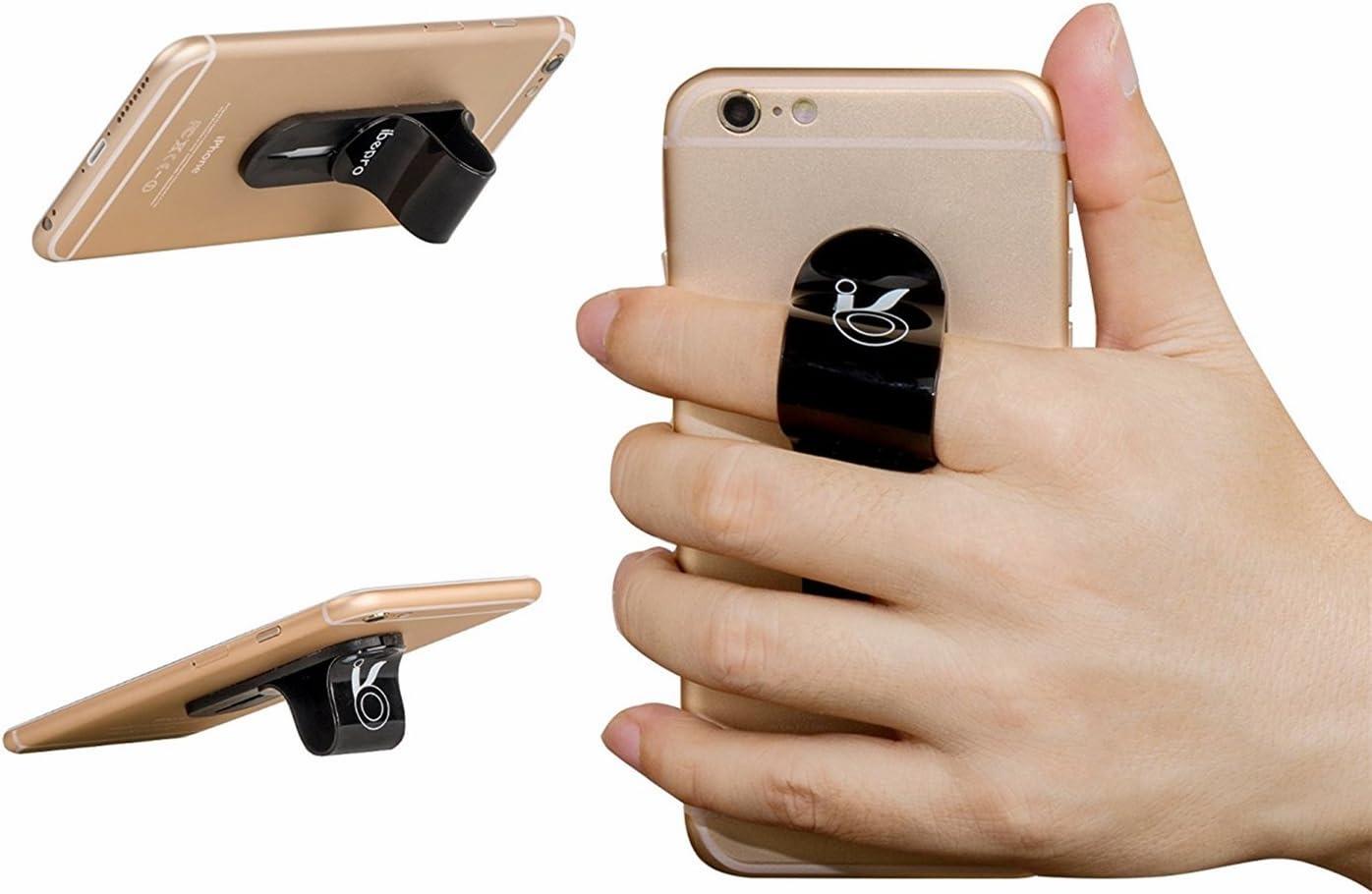 FOURPLUSONE Cell Phone Grip Universal Handheld Finger Strap Loop Holder for iPhone Samsung Smartphone Kindle Tablet Car Vent Holder