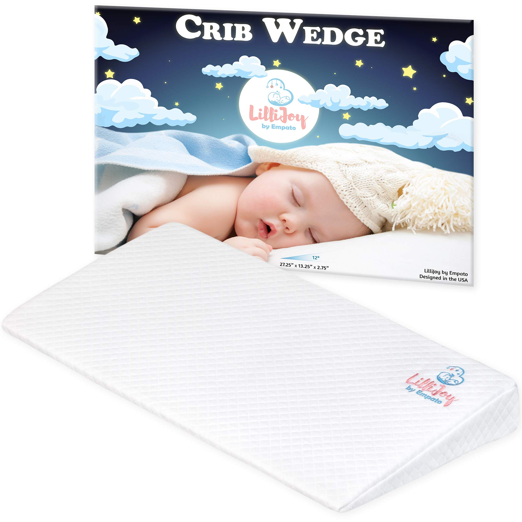 LilliJoy Baby Crib Wedge for Reflux - Premium Infant Sleep Positioner for Acid Reflux & Nasal Congestion - 12 Degree Incline High Sleeper Pillow for Mattress - 100% Cotton Cover - Comfortable & Soft