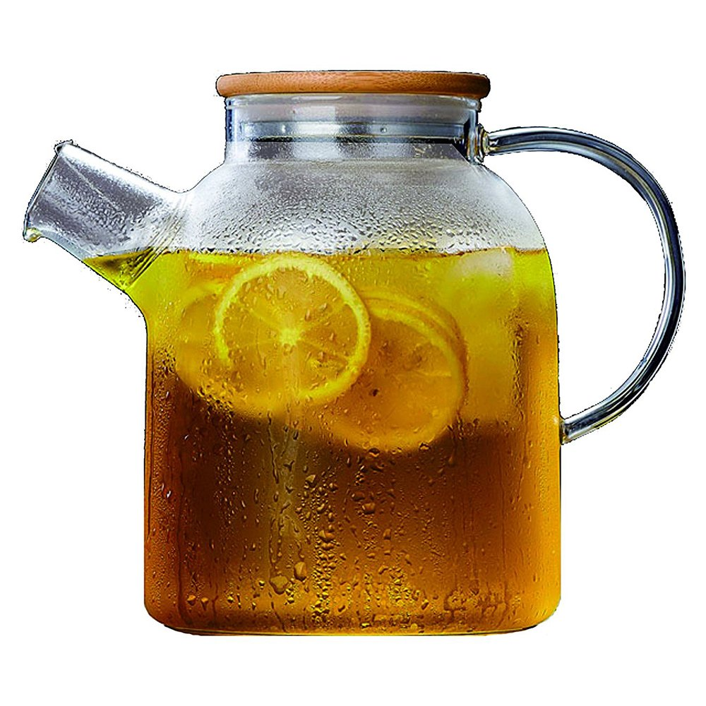 Large Glass Water Pitcher, 60 Ounce Borosilicate Tea Kettle with Stainless Steel Infuser Spout and Bamboo Lid, a Perfect Flower Teapot and Iced Tea Maker